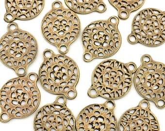 16 lace connectors bronze tone,15mm x 21.5mm  #CON039