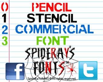 PENCIL STENCIL Commercial Font