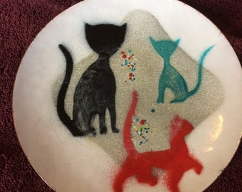 CATS: ENAMELED PLATE Enamel Over Copper, Mid Century?