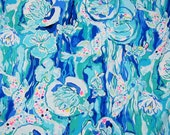 "10"" x 28"" Lilly Pulitzer Dobby Cotton Fabric Aquatic Garden"