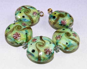 Handmade Lampwork Glass beads set of 5 lentil beads Lime Silver Glass SRA