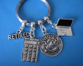 Retired Accountant Keyring Retirement Gifts Accounts Manager Retired Bookkeeper Retiral Gift