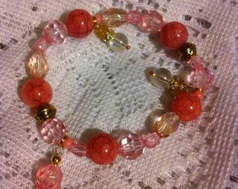 Pink mix beaded Celtic knot bracelet.