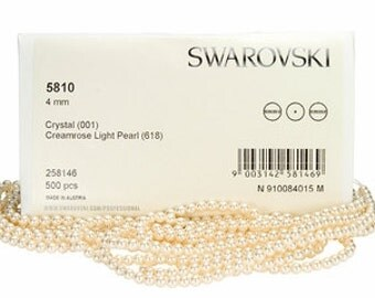 Creamrose Light,4mm Swarovski Crystal Pearl,(5810) pkg of 25