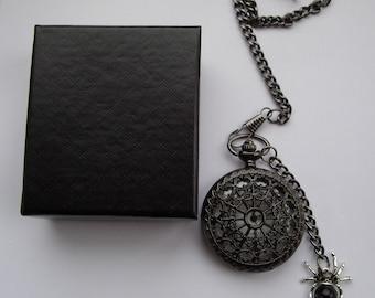 Steampunk  pocket watch black, fob watch, pocket watch chain, groomsman ,quartz  watch, best man