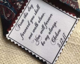 """Iron On - Sew On WEDDING TIE PATCH - Choose Message & Font - 2.5"""" x 2.5"""" Printed Patch, Father of Bride, Father of Groom, Bridegroom"""