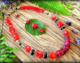 Red Coral Necklace; Red Fiber Necklace; Red Boho Necklace; Coral Necklace; Bohemian Necklace; Red Necklace; Coral Jewelry; Australian Seller