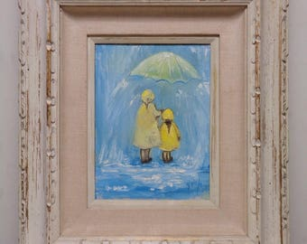 Marilyn Vintage Mother & Daughter in Rain Coats Oil Painting w. White Antique Wood Frame