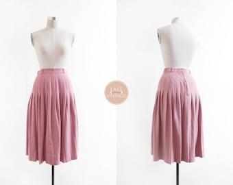 Pompadour Skirt | s | 1970s japan vintage | dusty pink pleats skirt