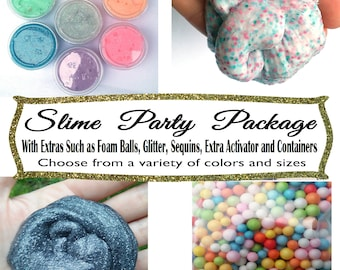Slime Party Favor Package Bundle With Extras Pack Party Cruncy Foam Sequins Lot Silly Putty Glitter Therapy Sensory gift unicorn toy mystery