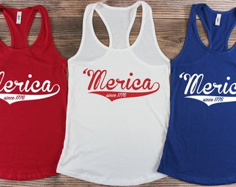 Merica Tank Top/ Merica Shirt/ USA Shirt/ USA Tank top/ America Shirt/ 4th of July Tank top/ Red White and Blue Shirt/ 1776 Shirt/ Memorial