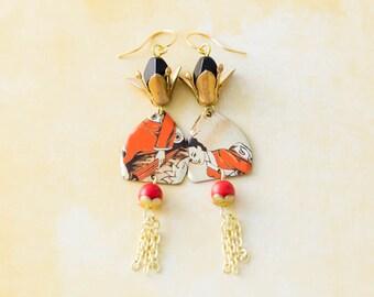 Red & Gold Geisha Earrings with Chain Tassels, Geisha Jewelry, Japanese Earrings, Asian Earrings, Chain Tassel Earrings, Oriental Earrings