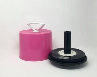 Midcentury Pink Plastic 45 Record Tote, Record Storage, Disk-Go-Case
