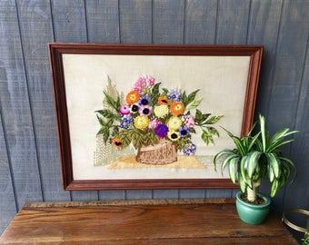 Vintage Framed Crewel Stitched  Floral Picture
