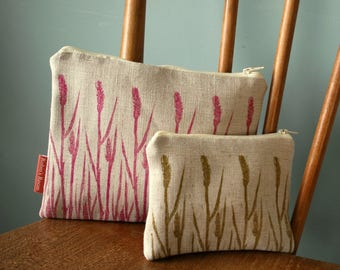 Hand Printed Linen zipped purse, make up bag in grasses print.