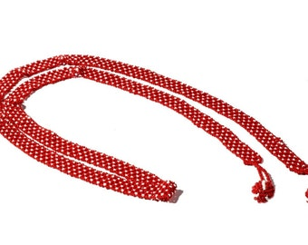 Vintage Czech hand white red glass seed beaded long lariat ball necklace 104-4