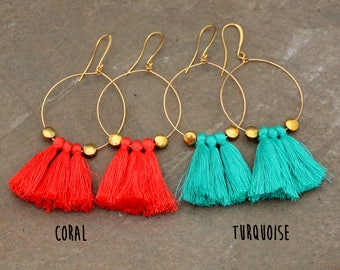 Tassel Hoop Earrings - Coral Tassel Earrings - Tassle Earrings - Fringe Earrings, White Tassel Earrings - Gold Hoop Earrings, Tassel Jewelry
