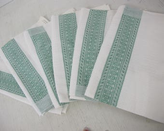 Green Stripe Dish Towels Set of 6 Made in Portugal Dish Cloths Cotton Dish Towels Farmhouse Kitchen