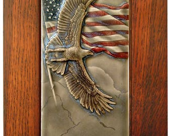 Honor, framed ceramic art tile, patriotic wall art, 7 x 11 inches outside dimensions,