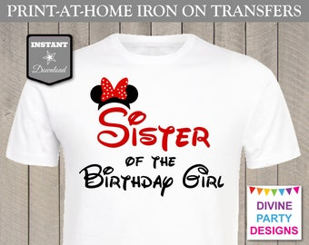 INSTANT DOWNLOAD Print at Home Red Girl Mouse Sister of the Birthday Girl Printable Iron On Transfer / Family / Trip / Item #2345