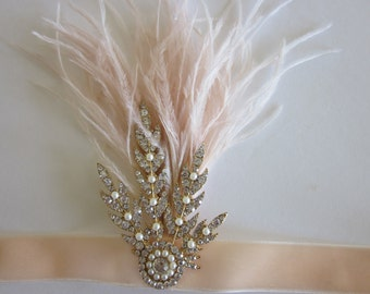Gold 1920s Headband, Great Gatsby Ostrich Feather headpiece, Ostrich Fascinator Enamel Rhinestone Pearl Crystal Art DecoBridal Wedding Metal