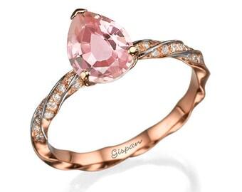 Morganite engagement Ring, Morganite ring rose gold, Drop Ring, Art Deco Ring, Gemstone Ring, Gem Ring, Vintage inspired, Promise Ring, Gift