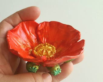 Poppy Ring Dish: Icelandic poppy red and yellow. Ring dish, Trinket Dish, hairpin caddy. Handcarved poppy cast in unbreakable resin