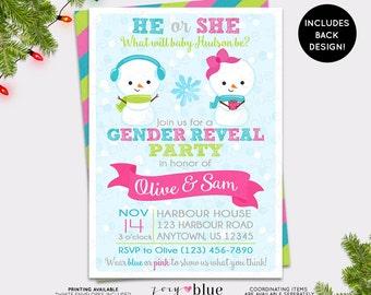Christmas Snowmen Gender Reveal Invitation Baby Shower Winter Wonderland Pregnancy Reveal Snow Boy or Girl Snowman - Printable Digital File