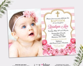 Pink and Gold Baptism Invitation - Peony Christening Invite - Floral First Communion- Confirmation Gold Glitter Roses Stripes - Digital File