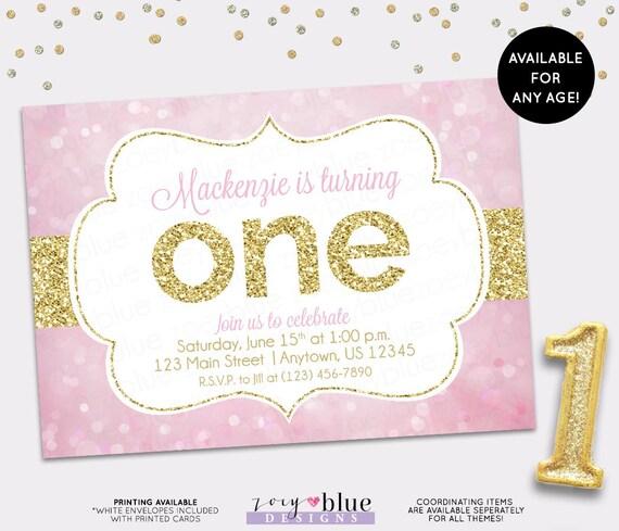 Pink gold birthday invitation girl first birthday invite the big il570xn filmwisefo