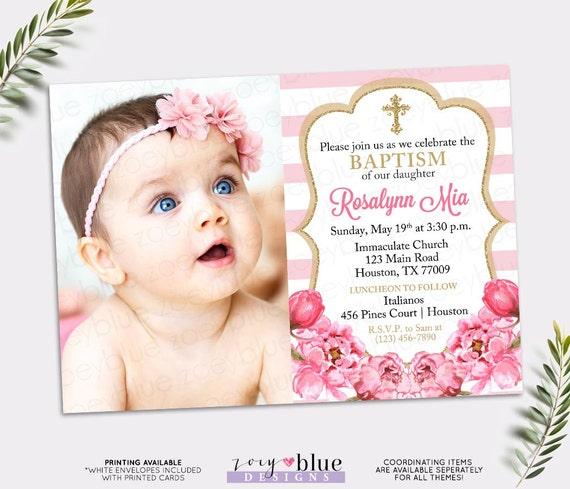 Pink and Gold Baptism Invitation Peony Christening Invite