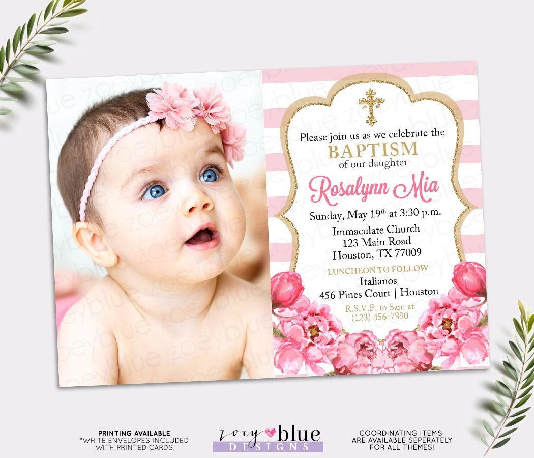 Pink and Gold Baptism Invitation Peony Christening Invite