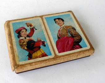 Set of 2 Decks Vintage Playing Cards in Original Box, Spanish Naipes Cards, Bridge Playing Cards, Belote Card Set, 3 Jokers,