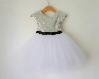 Flower Girls Dress silver and white tutu dress, Silver sequin dress, white or ivory tutu skirt, black satin ribbon belt