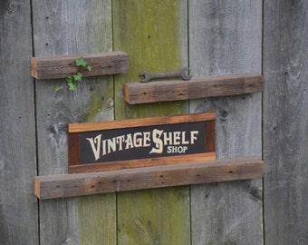 Set of Three Weathered Grey Oak Ledge Shelves