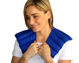 My Heating Pad - Neck & Shoulder Wrap for Hot and Cold Therapy - Natural and Reusable Pain Relief Solution (Blue)