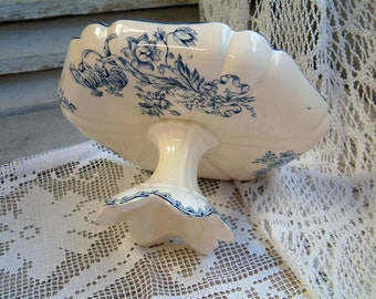 Antique french blue transferware cake stand. Blue transferware compote dish. Shabby cottage chic. Nordic style home decor. Gustavian decor