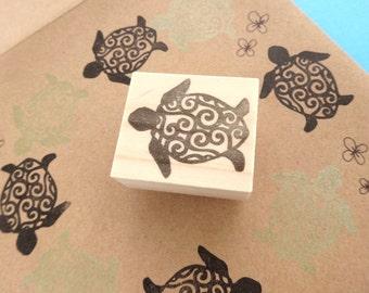 Turtle rubber stamp wedding invitation