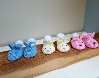 Bunny Easter Slippers, Booties, Crib Shoes