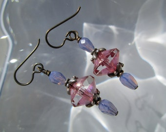 Dressy Boho Chic Glass Earrings Faceted & Fire Polished Czech Glass Earrings Pink and Lavender Earrings Hypoallergenic Niobium French Hooks