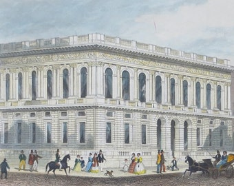 1850's Army & Navy Club On Pall Mall Mighty London Illustrated TH Shepherd Hand Tinted Steel Engraving