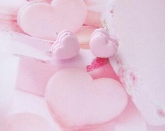 earrings heart macarons polymer clay