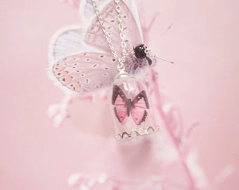 necklace vial butterfly