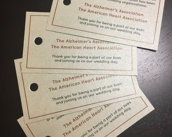 Personalized Donation Cards • Donation Cards • In Lieu of Favors • Wedding Favor Donation Cards - Choose your cardstock color!