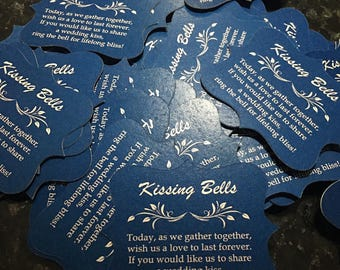 Dark Blue with White Verbiage - Kissing Bell tags - Wedding Bell Tags Wedding Favors