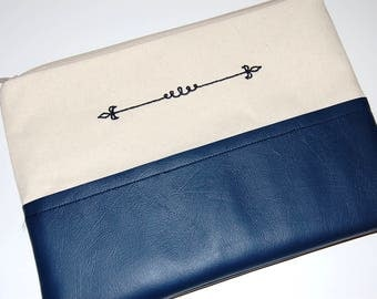 Navy Cosmetic Bag, Canvas Pouch, Vegan Leather Bag, Makeup Bag, Purse Organizer, Purse Pouch, Zipper Pouch, Embroidered Clutch, Navy Pouch