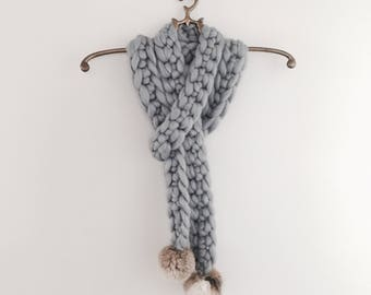 Chunky Crochet Wool Scarf with Fur Pompoms in a selection on colours
