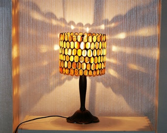 Amber lamp stained glass, Tiffany lamp, Table lamp