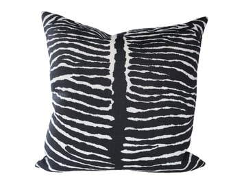 Le Zebre Black designer pillow cover - made to order - choose your size
