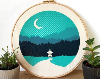 Forest Cabin Canvas Screen Print Forest Woods Art Poster in embroidery hoop by OR8 DESIGN and Button & Stitch